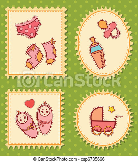 background with baby icons - csp6735666