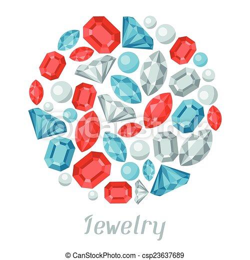 Background with beautiful jewelry precious stones. - csp23637689