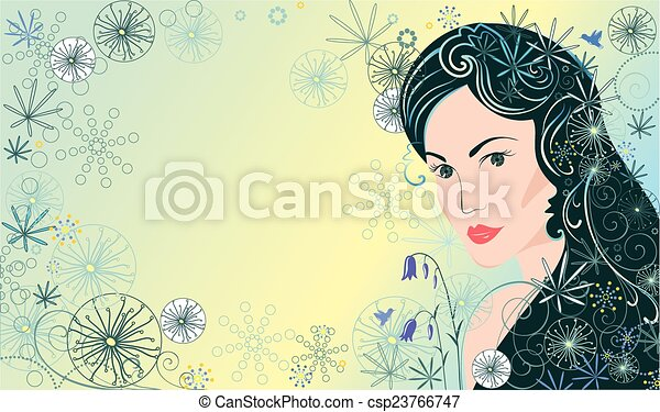 Background with beautiful woman - csp23766747