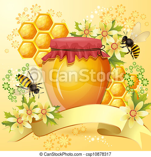 Background with bees and honey jar - csp10878317