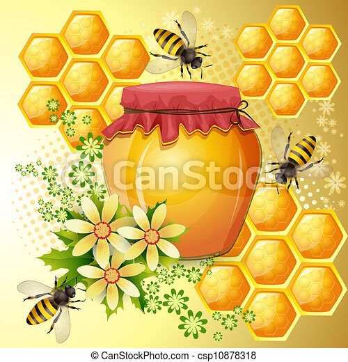 Background with bees and honey jar - csp10878318