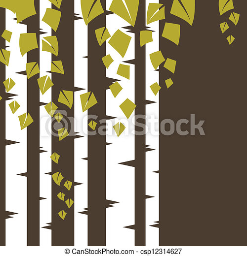 Background with birch branches. - csp12314627
