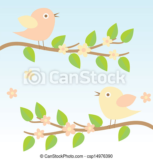 background with birds on brunches - csp14976390