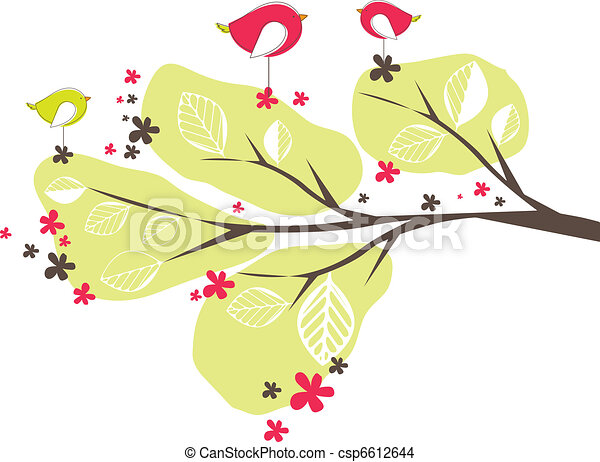 Background with birds, tree. Vector illustration - csp6612644