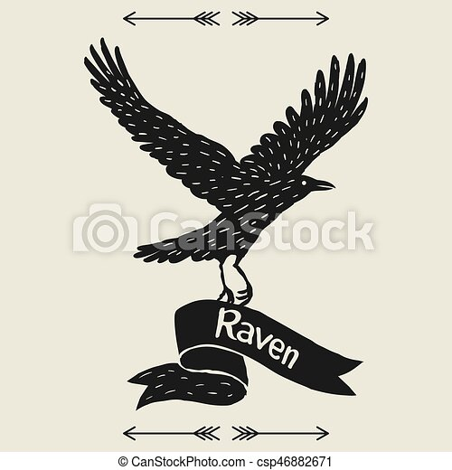 Background with black flying raven. Hand drawn inky bird and ribbon - csp46882671