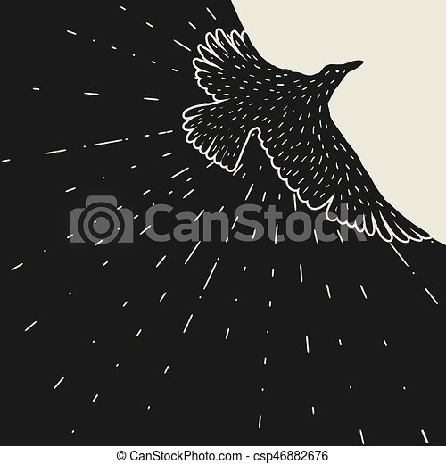 Background with black flying raven. Hand drawn inky bird - csp46882676