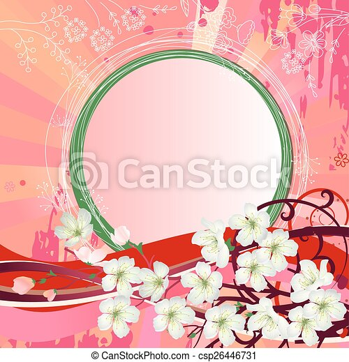 Background with blossoming branch  - csp26446731