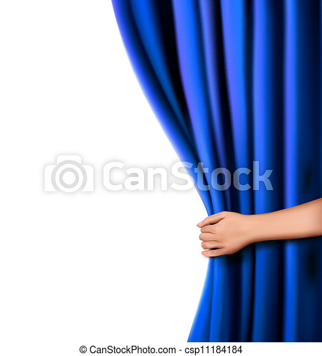 Background with blue velvet curtain and hand. Vector illustration. - csp11184184