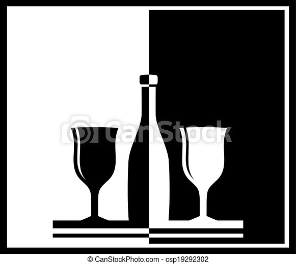 Background with bottle and wine glass csp19292302