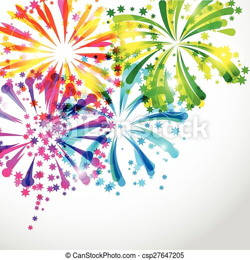 Background with bright colorful fireworks and salute - csp27647205