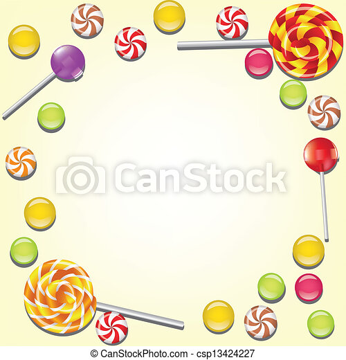 Background with candies frame - csp13424227