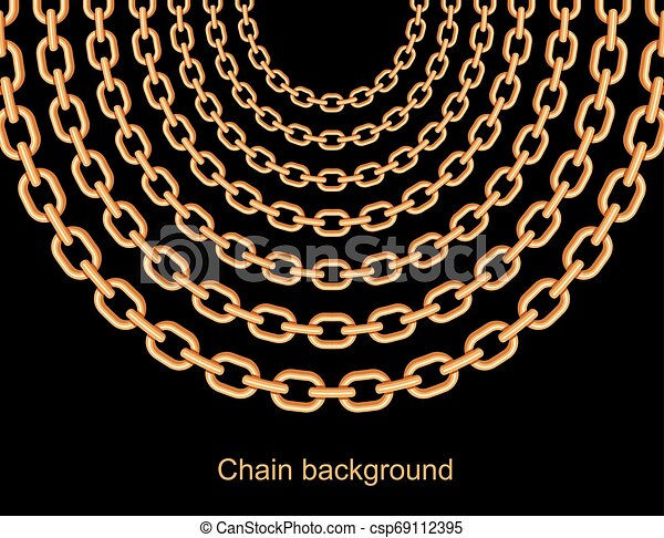 Background with chains golden metallic necklace. On black - csp69112395