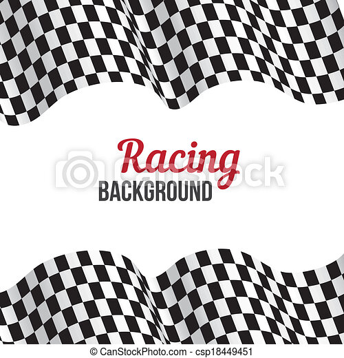 Background with checkered racing flag. - csp18449451