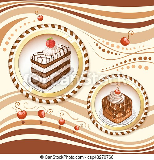 Background with chocolate cakes - csp43270766