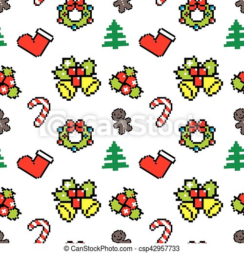 Background With Christmas Symbols Pixel Art Winter Pattern