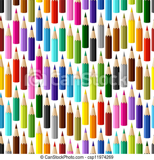 Background with colored pencils. Vector seamless pattern. - csp11974269