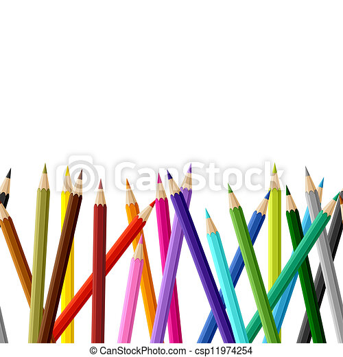 Background with colored pencils. Vector seamless pattern. - csp11974254