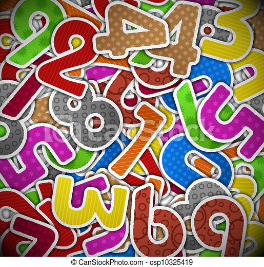 Background with colorful numbers of paper - csp10325419