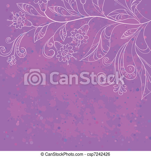 Background with contours flowers - csp7242426