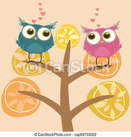 Background with couple of owls sitting on branch - csp59733022