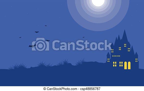 Background with dark castle Halloween - csp48856787