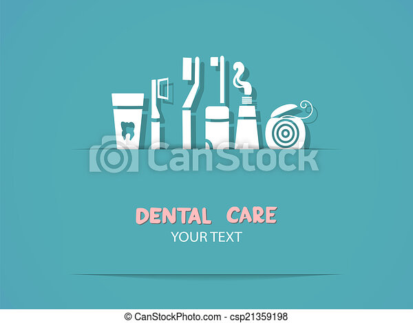 Background with dental care symbols - csp21359198