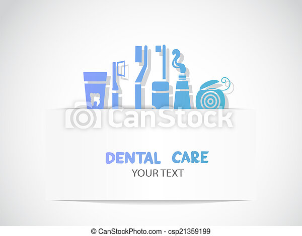 Background with dental care symbols - csp21359199