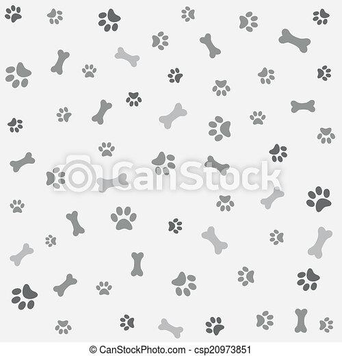 Background with dog paw print, bone - csp20973851