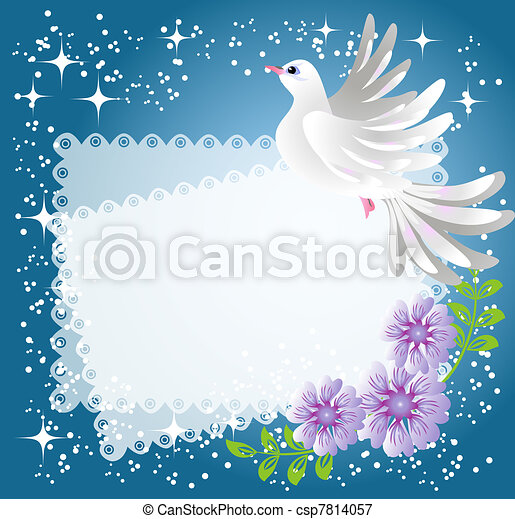 Background with dove and flowers - csp7814057