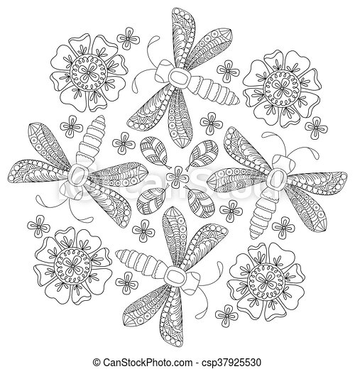 Background With Dragonfly And Flower Design For Adults Older Children Coloring Book Page