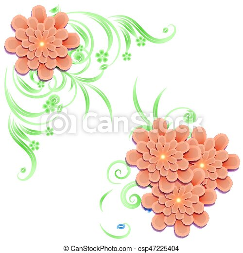 Background with elements of floral design - csp47225404