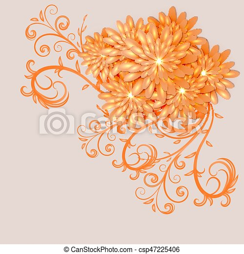 Background with elements of floral design - csp47225406