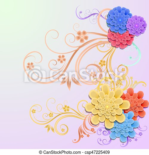 Background with elements of floral design - csp47225409