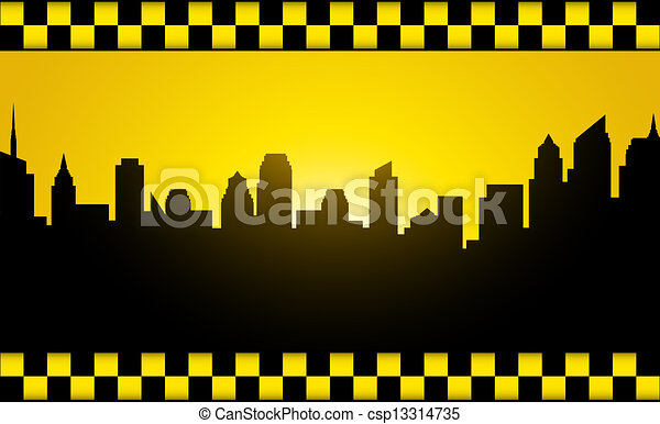 Transport Background With Evening City Silhouette And Taxi Stripe
