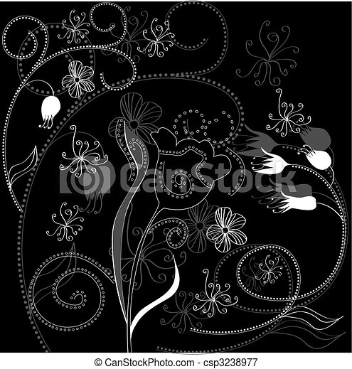 Background with floral ornament - csp3238977