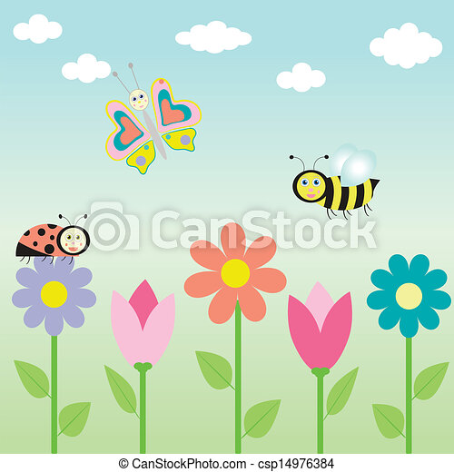background with flowers and  butterflies - csp14976384
