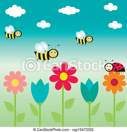 background with flowers and  butterflies - csp15473302