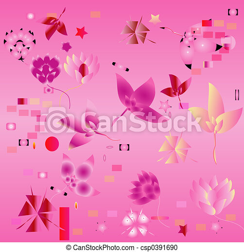 background with flowers and leaves - csp0391690