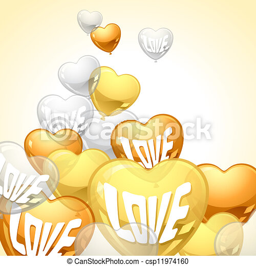 Background with flying balloons in the shape of a heart. - csp11974160