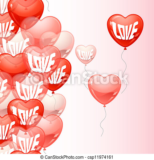 Background with flying balloons in the shape of a heart. - csp11974161