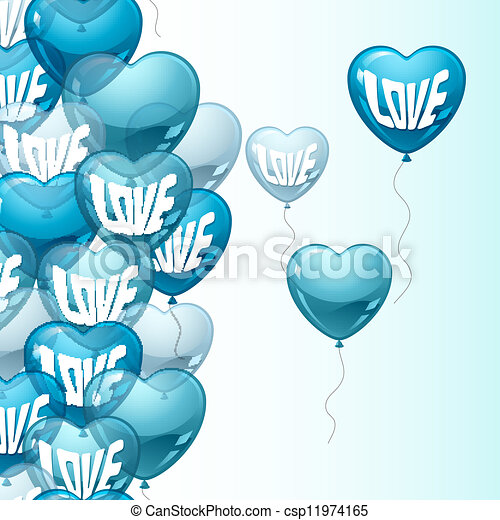 Background with flying balloons in the shape of a heart. - csp11974165