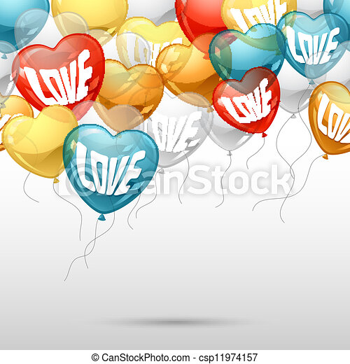 Background with flying balloons in the shape of a heart. - csp11974157