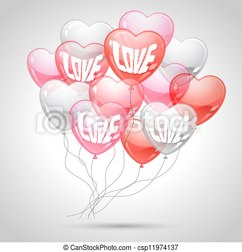 Background with flying balloons in the shape of a heart. - csp11974137