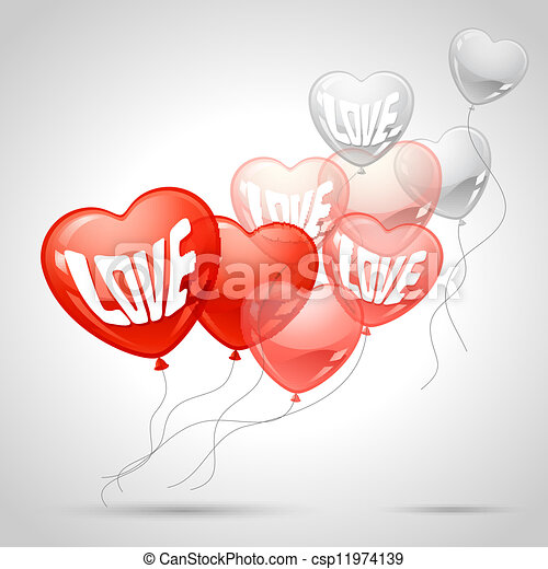 Background with flying balloons in the shape of a heart. - csp11974139