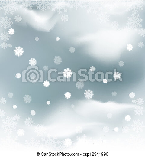 background with flying snow  - csp12341996