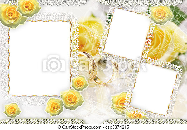 Background with frame and roses - csp5374215