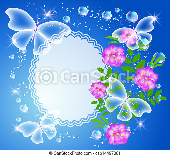 Background with frame, flowers and butterfly - csp14497061