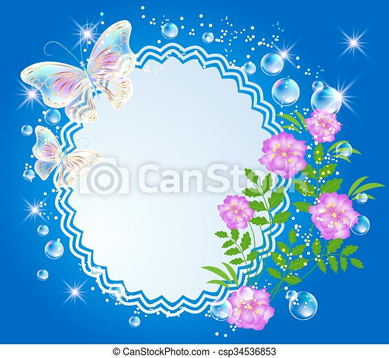 Background with frame, flowers and butterfly - csp34536853