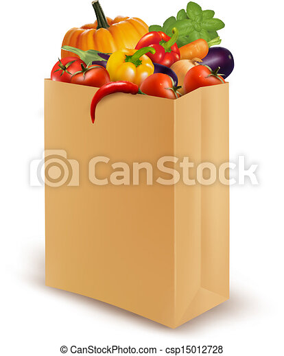 Background with fresh vegetables in paper bag. Healthy Food. Vector illustration  - csp15012728