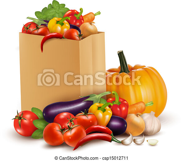 Background with fresh vegetables in paper bag. Healthy Food. Vector illustration  - csp15012711